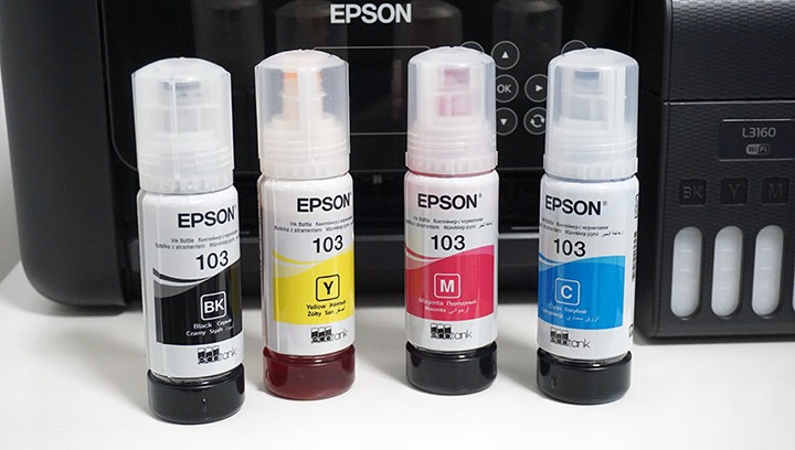 מיכלי הדיו במדפסת המשולבת Epson EcoTank L3160