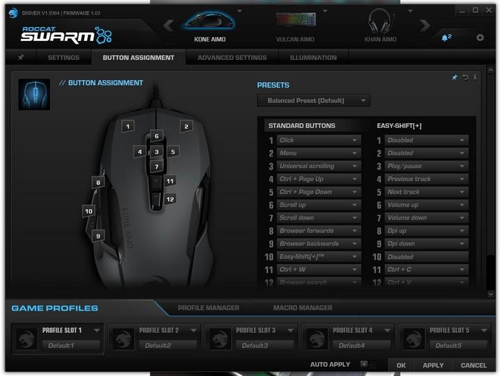 תוכנת Swarm לשליטה על עכבר Kone AIMO של רוקאט (Roccat)