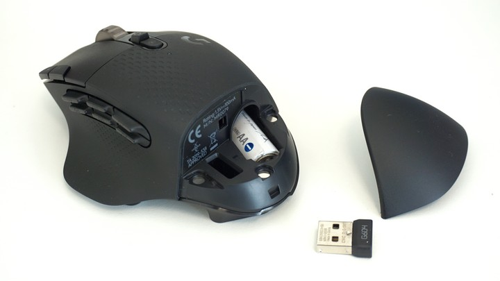 עכבר G604 של לוג'יטק במצב פתוח