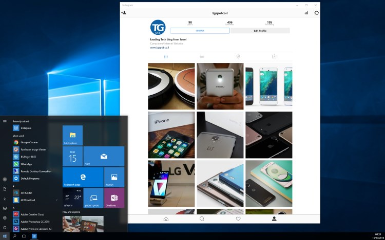 אינסטגרם ב-Windows 10