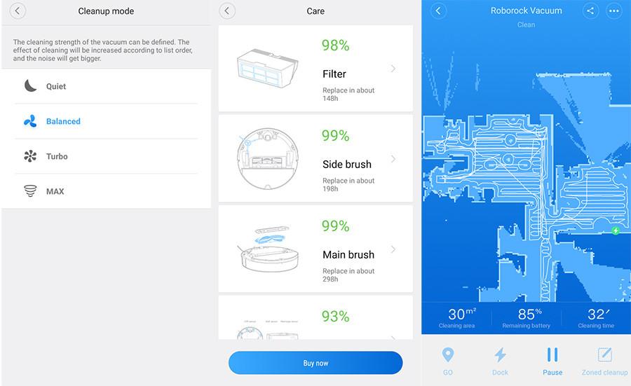 אפליקציה של שואב אבק רובוטי שיאומי